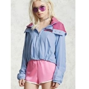 Forever 21 Baby Blue Babe Zone Graphic Windbreaker